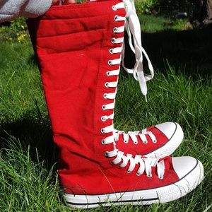 Red Knee High Shoes
